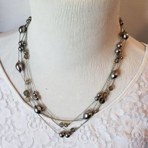 Vintage Monet 4-Strand Silver Tone Necklace NWT